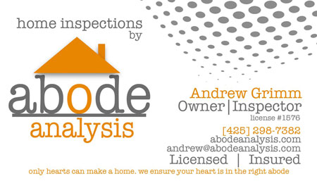 Andrew Grimm - Abode Analysis SOPHI Certified Home Inspector 425-298-7382