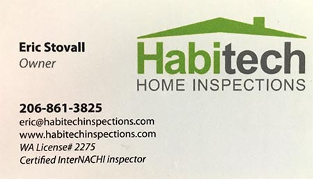 Eric Stovall SOPHI Certified Home Inspector 206-861-3825