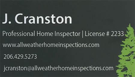Jivan Cranston SOPHI Certified Home Inspector 206-429-5273