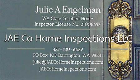 Julie Engelman SOPHI Certified Home Inspector 425-530-6629