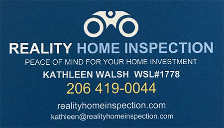 Kathleen Walsh SOPHI Certified Home Inspector 206 419 0044