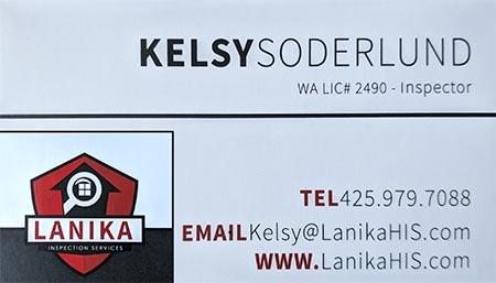 Kelsy Soderlund SOPHI Certified Home Inspector 206-390-1803