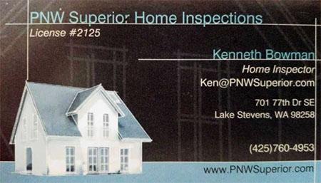Ken Bowman SOPHI Certified Home Inspector 425-760-4953