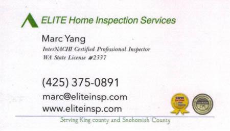 Marc Yang - Elite Home Inspection SOPHI Certified Home Inspector 425-575-0891