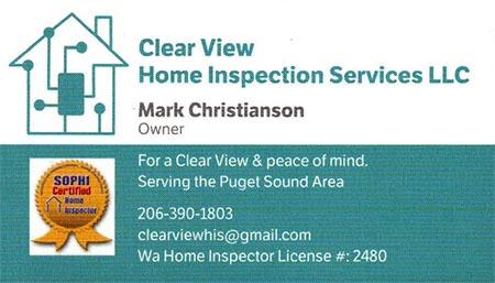 Mark Christianson SOPHI Certified Home Inspector 206-390-1803