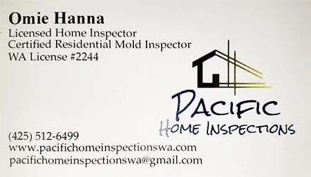Omie Hanna SOPHI Certified Home Inspector 425-512-6499