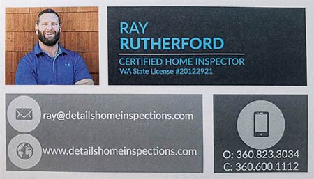 Ray Rutherford SOPHI Certified Home Inspector 360-600-1112