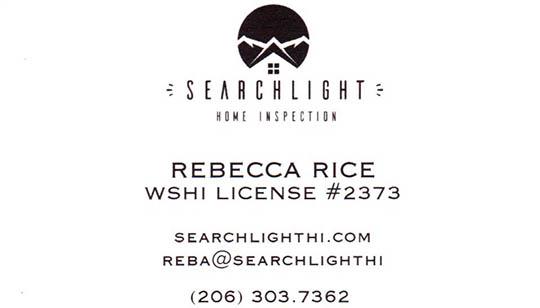 Rebecca Rice SOPHI Certified Home Inspector 206-303-7362