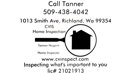 Tanner Nugent SOPHI Certified Home Inspector 509-438-4042
