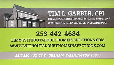 Tim Garber SOPHI Certified Home Inspector 253 442 4684