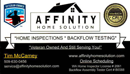 Tim McCamey Home Inspection SOPHI Certified Home Inspector 509 630 0456