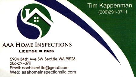 Tim Kappenman SOPHI Certified Home Inspector 206-291-3711